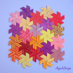 Polymer clay Quilt 10 (Angela.B) Tags: polymerclay polymer pattern walldecor wallhanding quilt quilted hexagon trapeze triangles colorful multicolor mosaic hotcolors yellow red purple texture textured creation combination