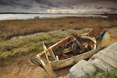 Essex Leigh-on-Sea (daveknight1946) Tags: essex leighonsea twotreeisland boat wreck fishermanstackle seascape waterscape water rust nets fishingnets sky marsh grass