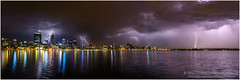 Perth lightning panorama (beninfreo) Tags: perth lightning westernaustralia storm cell bolt electricity city cbd skyscraper canon 5d3 5dmarkiii 1740mml australia weather