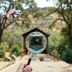 Day 777 [8-5-15]: Honey Run Covered Bridge (Buuck Photography) Tags: california travel bridge vacation foothills blur glass northerncalifornia rural forest vintage square photography one 1 countryside search holding focus paradise view distorted bokeh pov antique dailypic perspective creative canyon wanderlust magnifyingglass adventure explore pointofview study round theme series recreation norcal chico seek conceptual magnified spying find dailyphoto investigate circular photooftheday weeklytheme buttecounty buttecreek nationalregisterofhistoricplaces project365 buttecreekcanyon honeyrunbridge fujiprovia400x photoadaychallenge vscofilm buuckphotos buuckphotography shotonsonyrx100