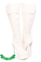 $54.99 – White Cuffed Knee High Boots Faux Leather (shopsmileprize) Tags: white leather high boots faux knee – cuffed 5499