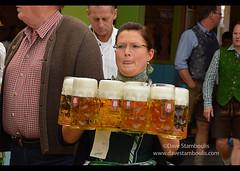 Waitress carrying masses of beer at Oktoberfest in Munich, Germany (jitenshaman) Tags: travel party beer festival germany munich münchen bavaria mas europe drinking oktoberfest alcohol mug destination munchen waitress heavy brew stein bavarian dirndl hofbräu worldlocations massweight