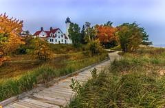 Point Iroquois Lighthouse on Whitefish Bay (Cole Chase Photography) Tags: autumn lighthouse fall canon october michigan whitefishbay upperpeninsula lakesuperior t3i pointiroquoislight