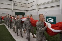Veteran Flag Holders at Lambeau Field