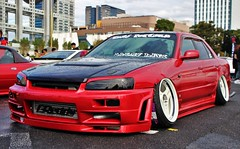 NISSAN SKYLINE (Audi quattro2) Tags: red japan sedan jdm stance r34 hellaflush