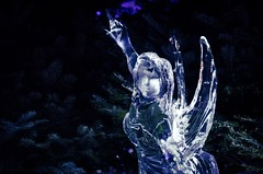 Ice Fairy (elizunseelie) Tags: park christmas uk trees winter light england sculpture cold reflection london art ice face statue female fairytale night contrast photoshop festive evening frozen carved high wings shiny pentax britain carving hyde event fairy narnia express transparent dslr wonderland tamron k5 detailed lightroom wintry evergeen