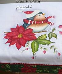 pano de pratos passarinho (romelia.artesanatos) Tags: natal passarinho pintura tecido 2015