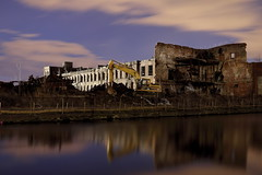 Tear That Ruin Down (Night) (95wombat) Tags: holyoke massachusetts canal water industrial decay history factory mill brick reflection night evening dark sky cloud