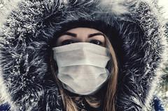 Katya (ivan_volchek) Tags: wearing mask disorder riot protest snow winter danger streetriots rioting jacket fur villi girl eyes hair surreal texture portrait people