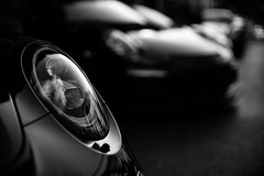 Porsche LED headlamps & light ring, Porsche 911 R (David A. Barnes) Tags: leica leicam240 landtransportation noctiluxm50mmf095asph porschebyleica porsche porsche911r headlamp blackandwhite blancoynegro noiretblanc noctilux bokeh carbokeh germansportscar automobile transportation supercar
