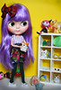 Tidying Up (Antique Wolf) Tags: blythe licca grape vivian barbie minijijo azone qmagic lalaloopsy little pony hamtaro tsum tsumtsum rock dinosaur pom sunglasses glasses bow choo choochoo purple hair hybrid green eyes cherries dawn dolls toy toys doll pose photography white yellow