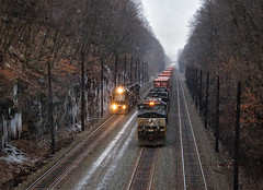 Racing Up the Grade (Wheelnrail) Tags: ns norfolk southern train trains locomotive emd ge pittsburgh line pitt pennsylvania prr signals lilly horseshoe curve rail road meet race signal winter snow cold