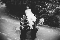 Flying Carina (Yuliya Bahr) Tags: wedding bride girl woman fun funny bw monochrome happy happiness weddingreport documentary grain motion movement joy