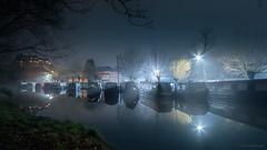 Barges (Colin_Evans) Tags: night river weynavigation weybridge longexposure water surrey lights starburst mist blue waterway
