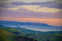 It never rains in California (Elizabeth Haslam) Tags: morrobay california sky cambria ocean redhighway46 centralcoast sea tneverrainsincaliforniabutgirldonttheywarnyaitpoursmanitpours rain drought highway46 green mountain