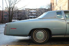 In Hindsight (Flint Foto Factory) Tags: chicago illinois urban city winter january 2017 north edgewater brynmawr kenmore 1977 1978 cadillac eldorado light blue generalmotors ebody fullsize fwd personal luxury coupe side profile rear quarter panel brougham