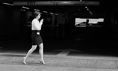 Cigercise (burnt dirt) Tags: houston texas downtown city town street sidewalk streetphotography office building wall crosswalk fujifilm xt1 bw blackandwhite girl woman people person cig cigarette smoke smoking heels stilettos walking exercise garage parkinggarage badge glasses
