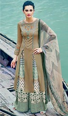 Beige Color Embroidered Cotton Satin Palazzo Suit