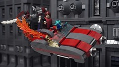 "Going down - Star Wars ""Uncertain Ways"" 1.14 (N-11 Ordo) Tags: star wars uncertain ways n11 ordo lego build jona valis jedi padawan rodin speeder bike chase coruscant buildings moc bricks going down"