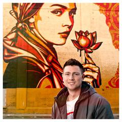 Mural Portrait (Geoff Sills) Tags: mural self portrait shepard fairey obey apparel clothing smile gauges nikon d700 35mm 14g square 1x1 geoffrey william sills geoff illumeon digital