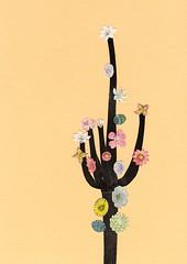 Flowering Cactus (_cassia_) Tags: cactus floweringcactus plants desert collage art cassiabeck nature vintage surreal print etsy society6 paleblue yellow orange peach pink white