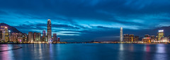 The Two Towers (Ateens Chen) Tags: city longexposure panorama night landscape hongkong nikon bluehour ateens victoriaharbour d810 pcenikkor24mmf35ded