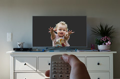 Dont turn me off (Pappa Paparazzi (Johan Ruijgrok)) Tags: girl tv kid nikon child no indoor remote merge d3200