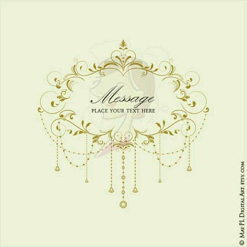This Popular Elegant Flourish Chandelier Frame Digital Clipart Now In Antique Gold Great As A
