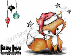 Mr Sweets the Fox Plays Santa #6FINALWM (Lizzy Love ♥ Oddball Art Co.) Tags: santa christmas cute eye art love reindeer cards big holidays paintings hats creepy antlers elf fox kawaii greeting bats lizzy 2015 oddballart