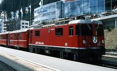 R12622.  611 at Arosa. (Ron Fisher) Tags: railroad train schweiz switzerland europe suisse transport rail railway publictransport arosa narrowgauge graubünden rhätischebahn schmalspurbahn ge44ii metregauge voieetroite