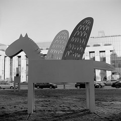 Winged Horses near Krasiski Palace, Warsaw (M.M.A.K.) Tags: 6x6 mediumformat poland warsaw fujineopanacros100 fujifilmneopan100acros start66s film:brand=fuji film:iso=100 film:name=fujineopanacros100 filmdev:recipe=10499