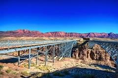 Navaho Bridge (Herculeus.) Tags: 1929 1995 2016 archtypebridges az bridges coloradoriverutaz echocliffsaz leesferry marblecanyon mountains navahobridge oct river signage architecture outdoor bridge architectureinpixels 5photosaday