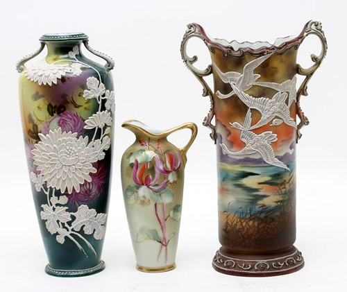 "Kathleen Stultz Nippon Porcelain Collection including Effusive Moriage Floral Decorated Vase ($235.20), Flying Moriage Geese 11.25"" vase ($784.00),"