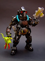 The Exterminator (Djokson) Tags: hazmat suit gasmask respirator goggles exterminator bounty hunter space warrior armor weapons black yellow green djokson lego bionicle moc model toy