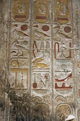 Painted Hieroglyphs, Temple of Seti I (Chris Irie) Tags: hieroglyph egypt temple seti i abydos