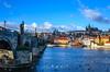 View of Prague castle from Charles Bridge, Prague (Tej Utah) Tags: prague castle sky blue bluemoment vltava