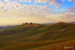 Tuscan waves (Agrippino Salerno) Tags: tuscany cretesenesi italy morning sunrise hills farmhouse colors countryside countryfarm country green cypress trees travel tree sky clouds waves agrippinosalerno canon manfrotto