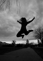Happy Love to Leap Thursday! (Flickr_Rick) Tags: jump jumping jumpology outside winter blackandwhite lovetoleapthursday