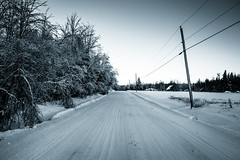Follow the lines (s.W.s.) Tags: quebec canada winter snow ice road rural lines pole nikon d3300 lightroom