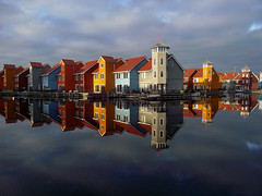 Reitdiephaven (markwagon) Tags: houses water reflection