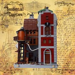 Residential Quarters - Facade 4 (Zilmrud) Tags: moc lego steam punk steampunk modular building swebrick ruins san victoria house