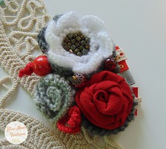 Blue Moon Unique Store (bluemoonuniquefashion) Tags: brooch beads unique handmade retro red white flowers crochet crocheted pin elegant jewelry jewellery etsy