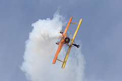Wingwalking (Norman Graf) Tags: show california cat plane airplane airport aircraft smoke airshow lancaster wingwalking grumman showcat wjf agcat kwjf n7699 g164 nx7699 generalwilliamjfoxairfield genesoucyandteresastokes 2015losangelescountyairshow