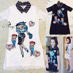 790฿#ส่งฟรีลงทะเบียนส่งemsเพิ่ม20บาทจ้า  17/070915 🎉Sevy Betty Boop Glitter Polka Dot Collar Mini Lace Dress  Fabric: Lace  Detail: มินิเดรสผ้าทอลูกไม้อย่างดี คอปกลายจุด ดีเทลเย็บแต่งเกร็ด PV เป็นรูปการ์ตูน Betty Boop สาวสวยสุดเซ็กซี่ ไอดอลของสาวเมกั