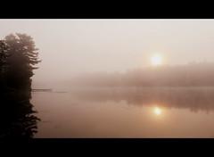 Misty summer sunrise (yooperann) Tags: lake sunrise reflections dock quiet bass michigan east upper peninsula gwinn