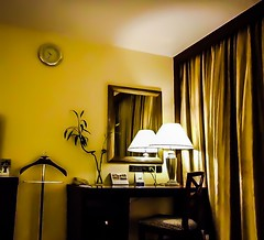 View of a hotel room (kchpatro) Tags: light reflection lamp mirror indoor curtains studytable