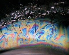 Thin Film Breakup (Sea Moon) Tags: macro film water colors swirls rainbows iridescence coating ferrofluid