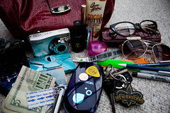 All The Usual Stuff (Jules (Instagram = @photo_vamp)) Tags: camera money sunglasses gum keys glasses makeup purse stuff penny flashlight lipstick pens pills nailpolish bandaid markers contents lotion eyeliner guitarpicks hairclip wristbands photochallenge redpurse