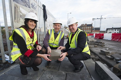 DSD Minister Mervyn Storey MLA pictured with Councillor Linda Dillon, Chair of Mid-Ulster Council and Patrick Harney, Lagan Construction Group during a visit to Dungannon regeneration works