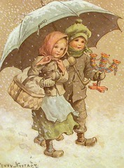 Jenny Nystrm. Received on 1984 (caijsa's postcards) Tags: christmas children sweden umbrellas christmaselves christmaspostcards jennynystrm christmasgnomes